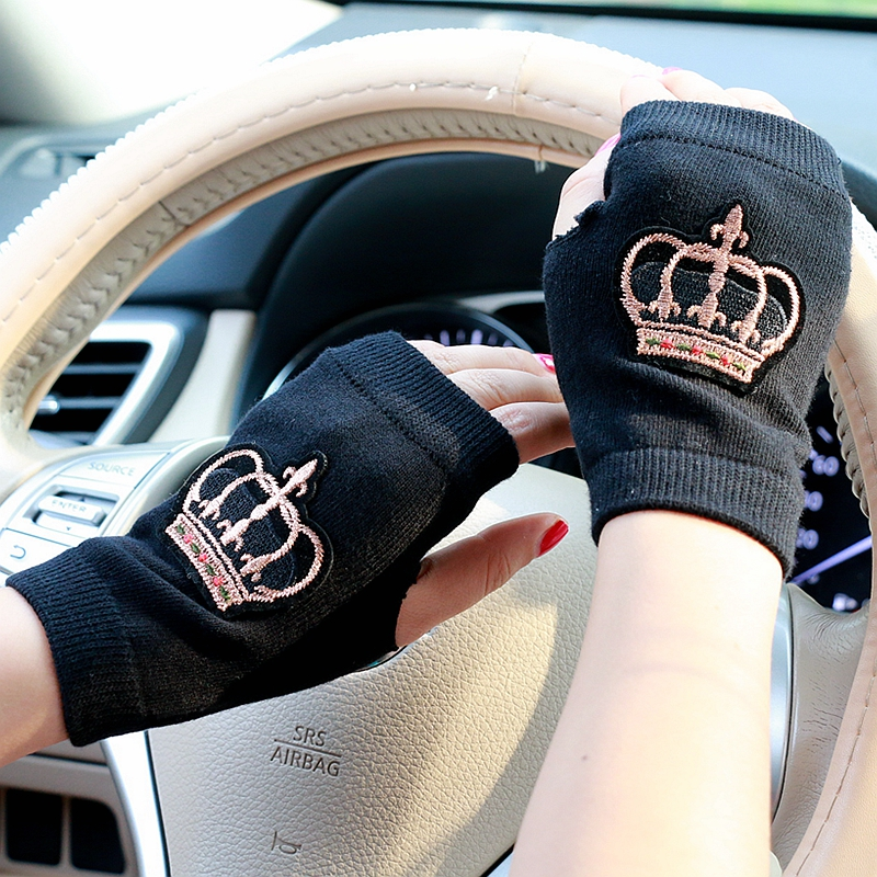 20 Design Winter Gloves Women Embroidery Crown Flower Half Finger Gloves Girls  Warm Knitted Mittens Men Guantes