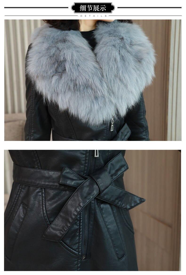 H7b5ace065fc54f0b9ec2c4e3f7da0e8bU Vangull Women's Leather Jacket for Winter 2021 New Plus Velvet Warm Slim Big Fur Collar Long Leather Coat Female Outerwear M-4XL