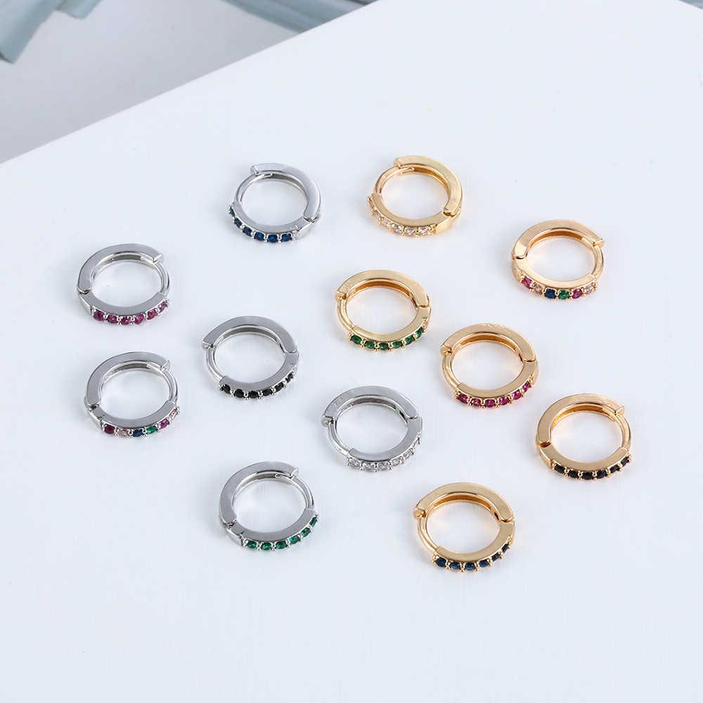 2pcs CZ Stud עגיל קשת זהב עגילים לנשים קוריאני עגילי Zirconia קריסטל קסם תכשיטי מתנה סחוס אוזן הרבעה