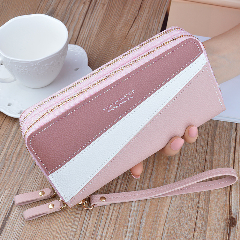 New Style Double Zipper Wallet Women's Long Clutch Korean-style Joint Contrast Color Large Capacity Double Layer Wallet Mobile P