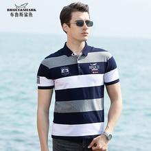 New Summer Striped Men Polo  97%Cotton Bruce&shark Men's Tees Casual Fashion Loose TOP Quality Big Size 4XL  Polo men T SHIRT