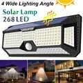 Водонепроницаемая 128/268 светодиодная Солнечная лампа с датчиком движения, светильники на солнечной энергии, наружное охранное освещение дл...