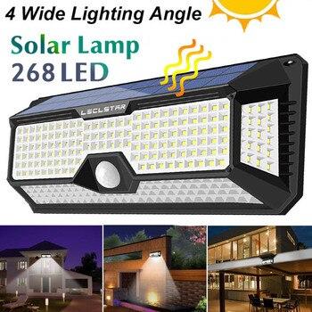 Lámpara Solar LED impermeable 128/268 con Sensor de movimiento, luces de energía Solar para exteriores, iluminación de seguridad para porche/jardín/calle/luz de pared