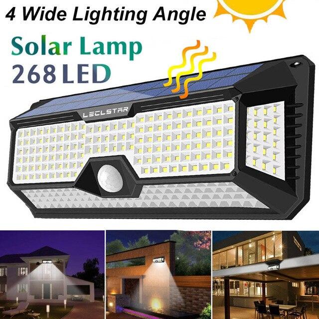 Lampe LED avec capteur de mouvement, à énergie solaire, étanchéité 128/268, éclairage de sécurité extérieur pour porche/jardin/rue/applique murale
