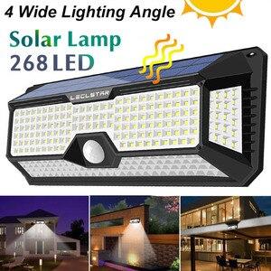 Image 1 - Waterdichte 128/268 Led Solar Lamp Motion Sensor Zonne energie Lichten Outdoor Security Verlichting Voor Veranda/Tuin/Straat/wandlamp
