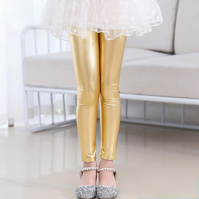 Baby Girls Metallic Color Shiny Pants Leggings Children Cute Stretchy Trousers Bottoms 1-9Y Oddler Kids