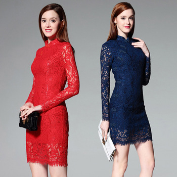 Simple Solid Color Stand Collar Long Sleeve Lace Ladies Short Dress 2020 Spring Sexy Lace Banquet Dress Temperament Cheongsam