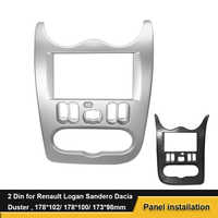 2Din DVD Stereo Fascia Misura Per RENAULT Logan Sandero Dacia Duster Telaio di Montaggio del Pannello Viso Plancia In Dash Installazione Trim kit