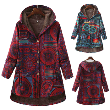 Women Winter Floral Printed Coat Vintage Harajuku Plus Size Loose Casual Jackets Plus Velvet Thick Warm Hooded Fashion Coat 1