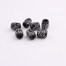 20pcs Black Acrylic Carved Symbol Hair Braid Dread Dreadlock