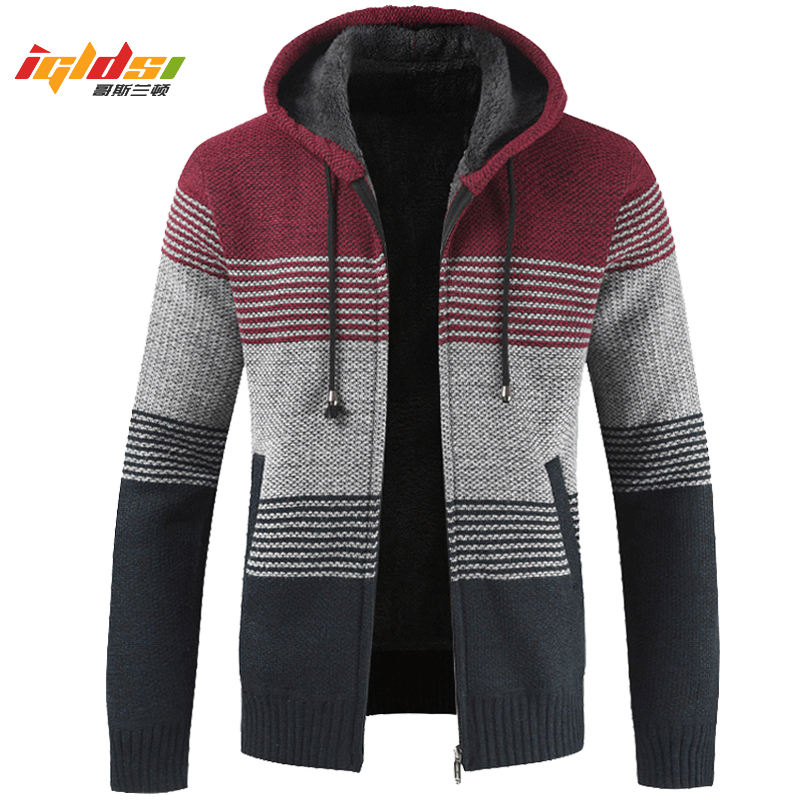 2019 New Winter Men's Jackets Thick Cardigan Fleece Inside Sweater Coats Autumn Gradient Knitted Zipper Outwear Coat Size M-3XL