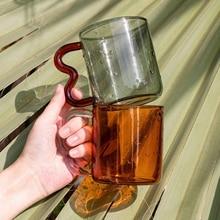 SOREMO Original Design Colorful Ear Glass Mug Handmade Simple Wave Coffee Cup for Hot Water