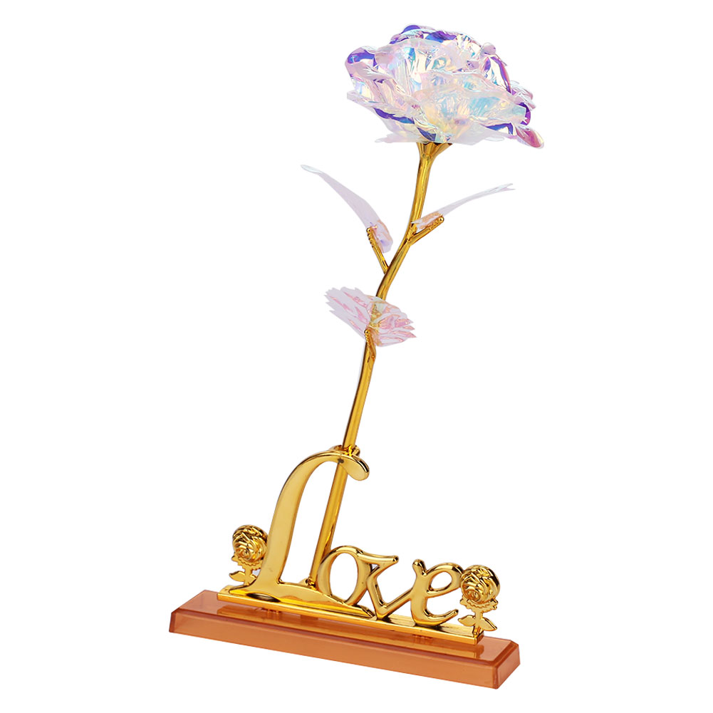 24K Gold Foil Flower Rose Flower Eternity Rose Valentine'S Day Luminous Wedding Beautiful Romantic Party Rainbow