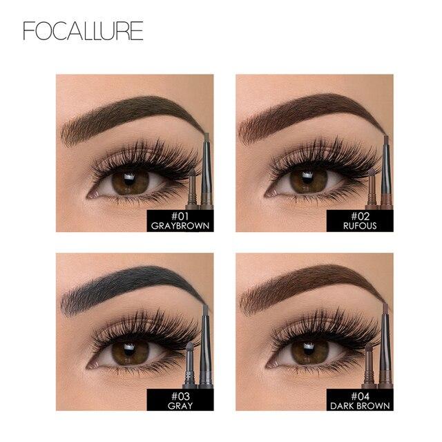 FOCALLURE Eyebrow Pencil 3 in 1 Auto Waterproof Eye Makeup Brow Shades Brush Powder Tint No Tone Long Lasting Eyebrow Pencil 4