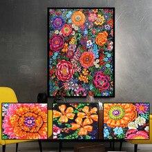Flor colorida especial em forma de 5d diy pintura diamante bordado strass kits de ponto cruz broca parcial cristal venda quente
