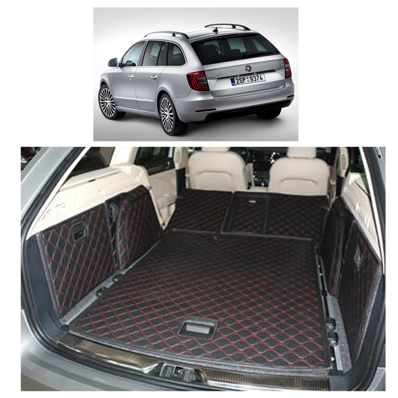 Lsrtw2017 Leather Car Trunk Mat Cargo Liner for Skoda Superb 2008 2009 2010 2011 2012 2013 2014 5d Rug Carpet Accessories