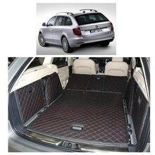 Lsrtw2017 Leather Car Trunk Mat Cargo Liner for Skoda Superb 2008 2009 2010 2011 2012 2013 2014 5d Rug Carpet Accessories