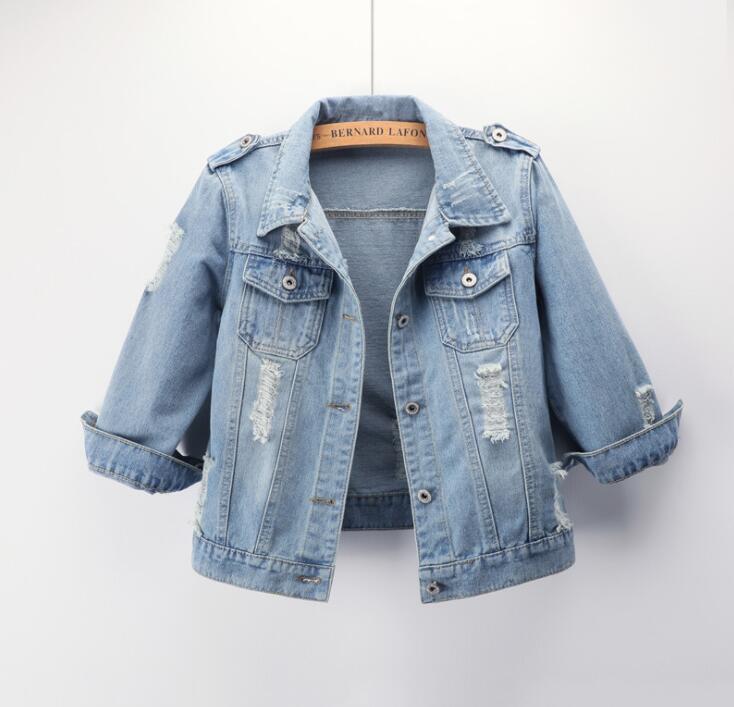2019 Large Size 5XL Denim Jacket Ladies Boyfriend Denim Coat Streetwear Harajuku Retro Autumn Basic Jacket 7 Sleeves