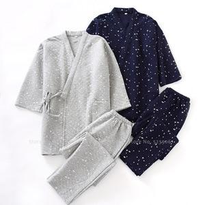 Japoński tradycyjny Kimono piżamy zestaw mężczyźni zima domowa bielizna nocna luźne spodnie topy piżamy szlafrok Haori Yukata strój garnitur