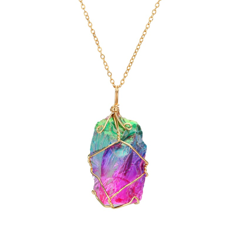 Irregular Natural Rainbow Stone Healing Quartz Crystal Pendant Necklace Full Gold Wire Wrapped Valentines Day Gift Arco Iris New
