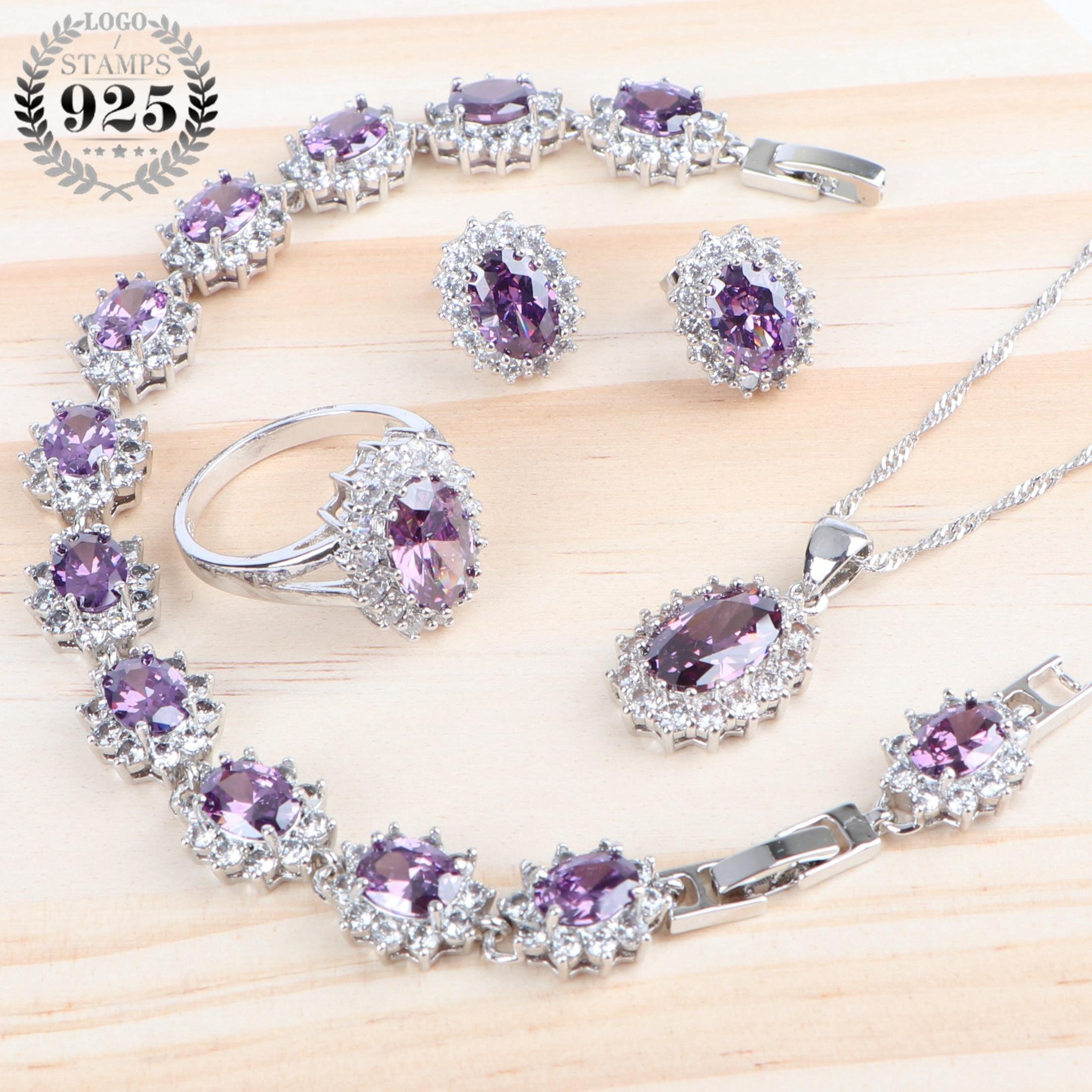 Women Accessories Luxury Jewelry Sets 925 Silver Purple Zirconia Wedding Necklace Sets Ring Bracelet Earrings Pendant Jewelry