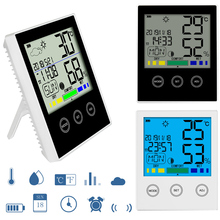 Touch Weather Station Indoor Outdoor Forecast Thermometer Temperature Humidity Meter Hygrometer Meter Monitor Clock Alarm wireless digital weather station latest new white remote multifunction weather forecast clock temperature humidity meter