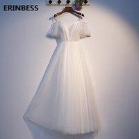 Crazying Sale Sweetheart Long Prom Dresses Vestido De Festa Elegant A line White Prom Dress 2020 Style Half Sleeve High Quality