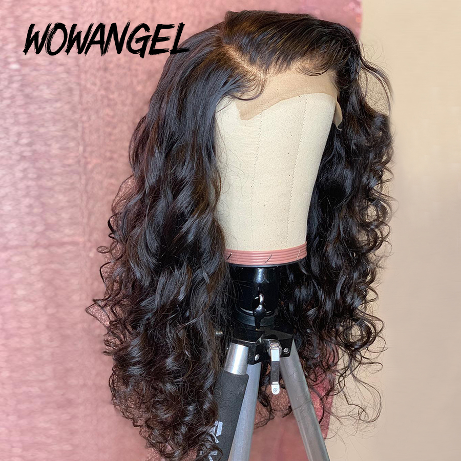 WOWANGEL Transparent Lace Front Human Hair Wigs 13X6 Invisible Remy Brazilian Curly Lace Frontal Wig For Women Bleached Knots