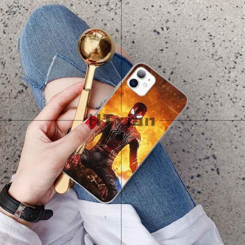 Htxian spiderman transparente escudo macio capa do telefone para o iphone 11 pro xs max 8 7 6 s plus x 5 5S se xr capa