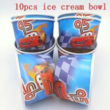 10pcs/lot Disney Lightning Mcqueen Theme Ice Cream Cups Baby Shower Party Supplies Bowl Kids Birthday Decoration