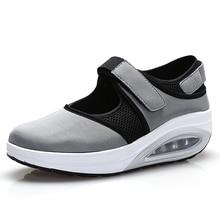 Toning Shoes Sneaker Wedge Platform Walking Women Black Bottom Increase Outdoor Flat