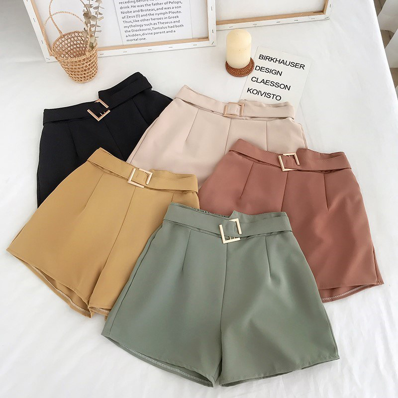 Korean Brief Design Black Suit Shorts For Women 2020 Fashion Solid Elastic High Waist Yellow Wide Leg Shorts With Belt 5 Colors
