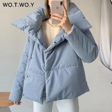 WOTWOY Oversized Cropped Winter Jacket Women Windbreaker Cotton-Padded Parkas Women Solid Casual Thick Jackets Female Outerwear