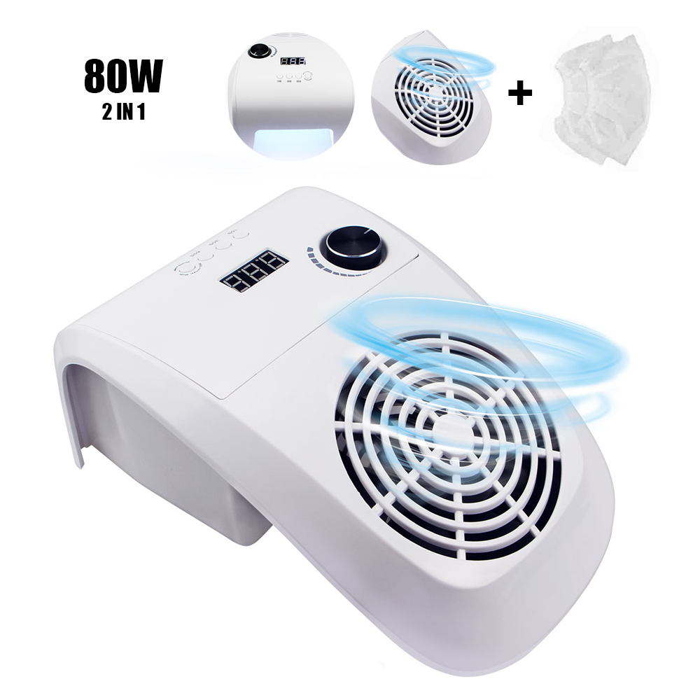 80W 2 IN 1 Nail Dust Suction Collector With Nail Lamp Vacuum Cleaner With Powerful Fan Dust Collecting Bag Nail Art Equipment