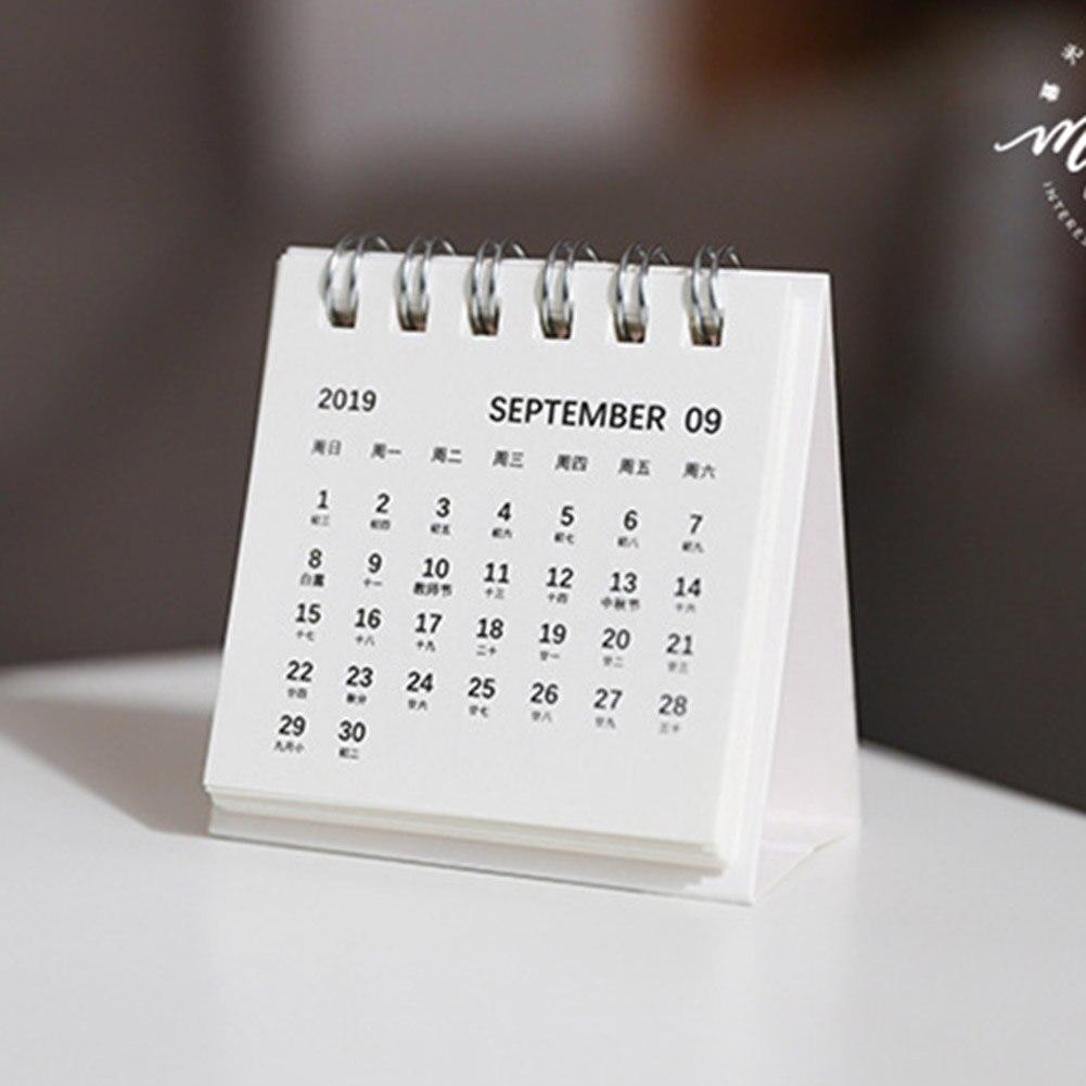 2020 New Year Mini Desk Calendar Simple Desk Coil Notepad Kraft Paper Calendar Daily Schedule  OUJ99