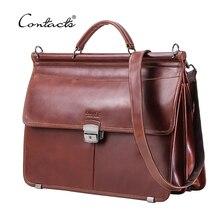 """CONTACTS حقيبة لابتوب رجالية عادية ل 15.6 """"رجال الأعمال حقيبة جلد طبيعي رسول حقائب كتف ذكر حمل حقيبة Bolsas"""