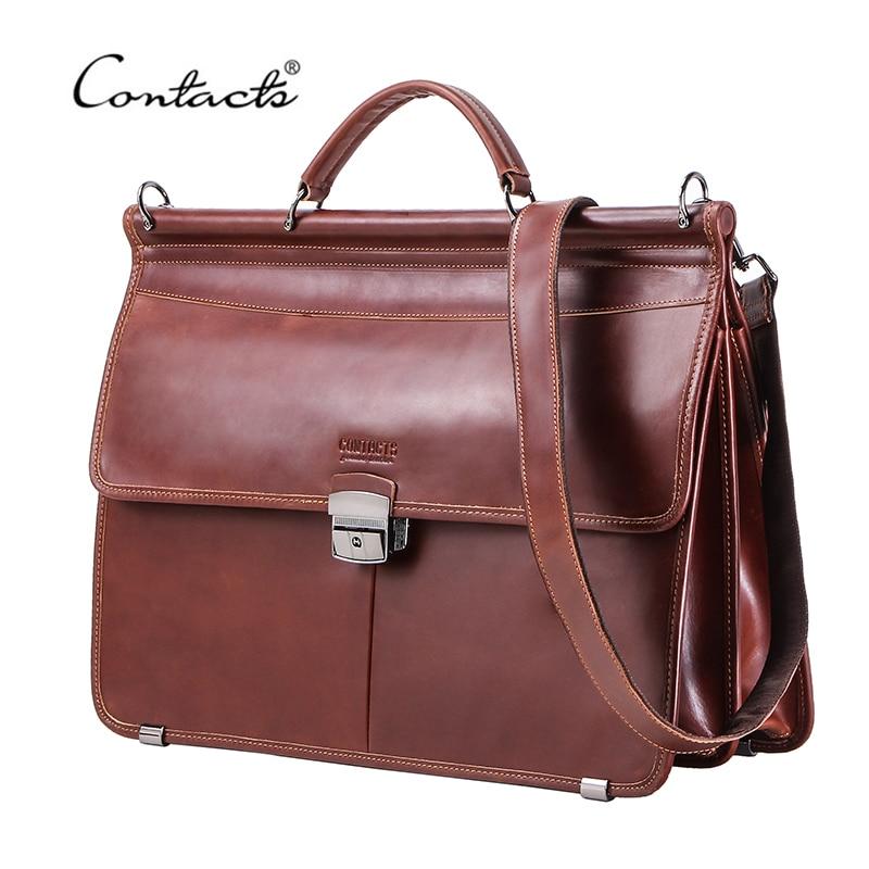 "CONTACTS Casual Men Laptop Bag for 15.6"" Business Men Briefcase Genuine Leather Messenger Shoulder Bags Male Tote Bag BolsasBriefcases   -"