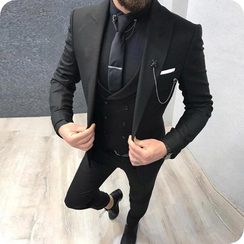 Black Men Suits Men For Wedding Suit Man Business Bridegroom Custom Made Costume Slim Fit Formal Groom Tuxedo Blazer Best Man
