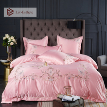 Liv-Esthete Luxury A Silk B Cotton Pink Bedding Set Printed Duvet Cover Bed Sheet Double Queen King Linen For Beauty