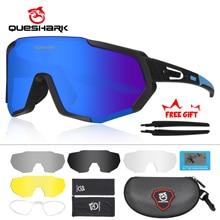 QUESHARK 남자를위한 새로운 디자인 극화 된 자전거 안경 자전거 안경 자전거 선글라스 5 렌즈 미러 된 UV400 고글 QE48