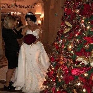 Image 3 - 오프 숄더 레이스 인어 웨딩 드레스 분리형 스커트 코트 트레인 새틴 우아한 신부 긴 Vestido 드 Novia 2020