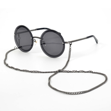 Round Sunglasses Lunettes Frames Rimless-Lens Female Shades Chain-Designed Women Luxury Brand