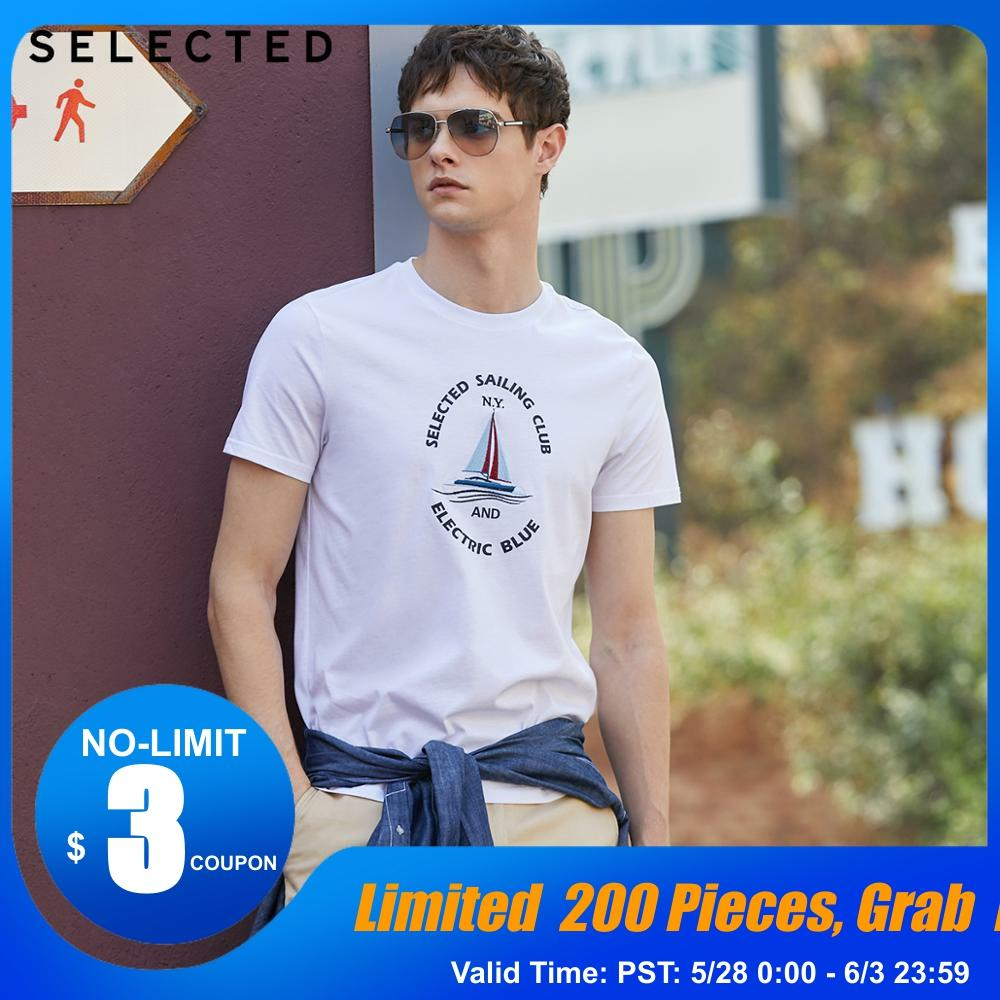 SELECTED Men's 100% Cotton Printed Short-sleeved T-shirt S|419201588