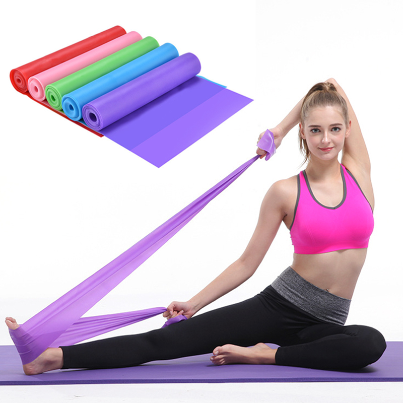 Yoga Pilates Stretch Resistance Band Exercise Fitness Band Training Elastic Exercise Fitness Rubber 150cm natural rubber Gym 1