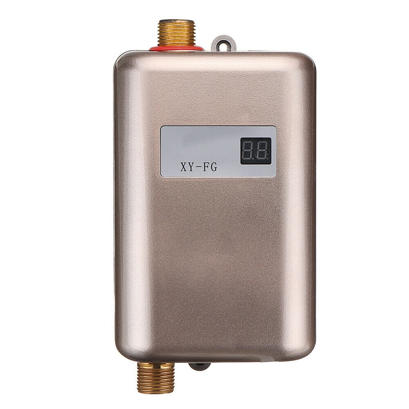 Top Deals 3800W Mini Electric Tankless Instant Hot Water Heater Temperature Display Heating Shower Universal EU Plug Gold