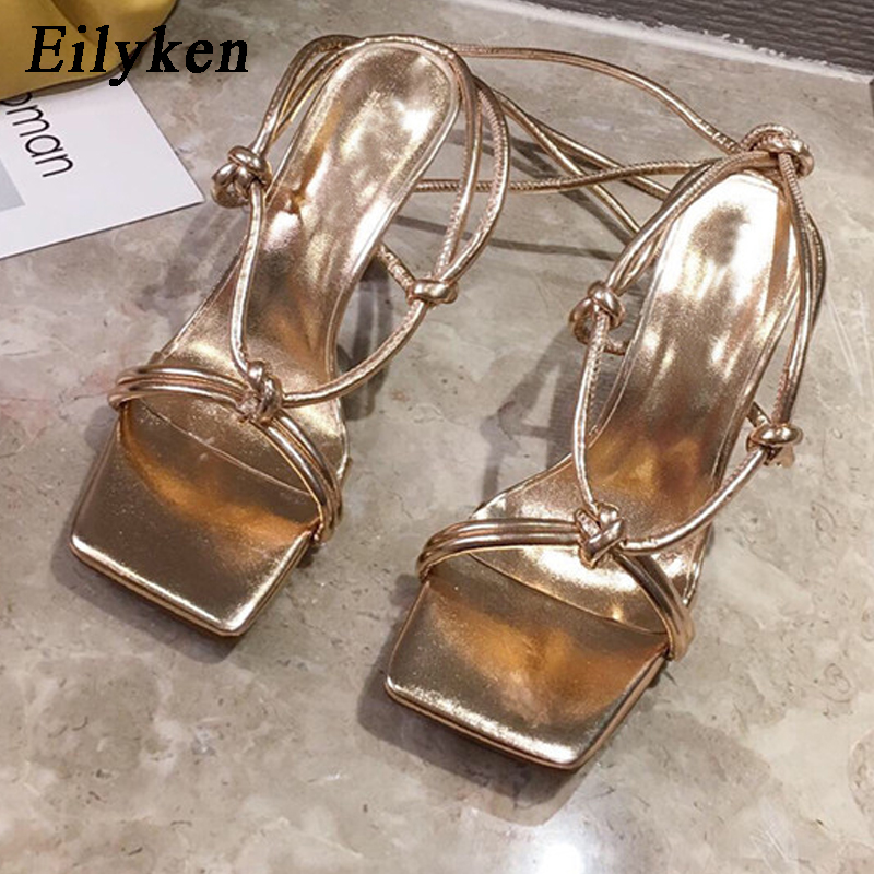 Eilyken Elegant Ladies Party Fashion Ankle Lace-Up Sandals Woman Summer Shoes High Quality PU Leather Open Toe Stilleto Heels