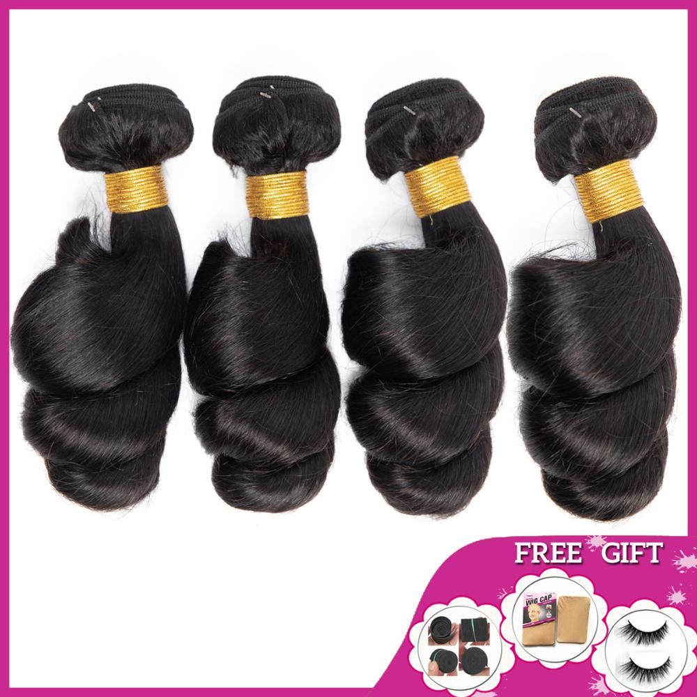 BEAUTY GRACE Loose Wave 4 Bundles Human Hair Bundles Deals Brazilian Hair Weave Bundles Non-remy Hair Extensions Free To Brazil