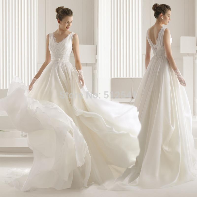 2018 Chiffon Wedding Dresses A Line V Neck Applique Beads Sequin Pleats Sweep Train Bridal Gown Robe De Mariee