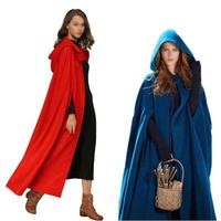 Poncho Casual Women Winter Cloak Hooded Sleeveless Button Closure Long Cape Costume Cosplay Outerwear Womens Poncho 7479