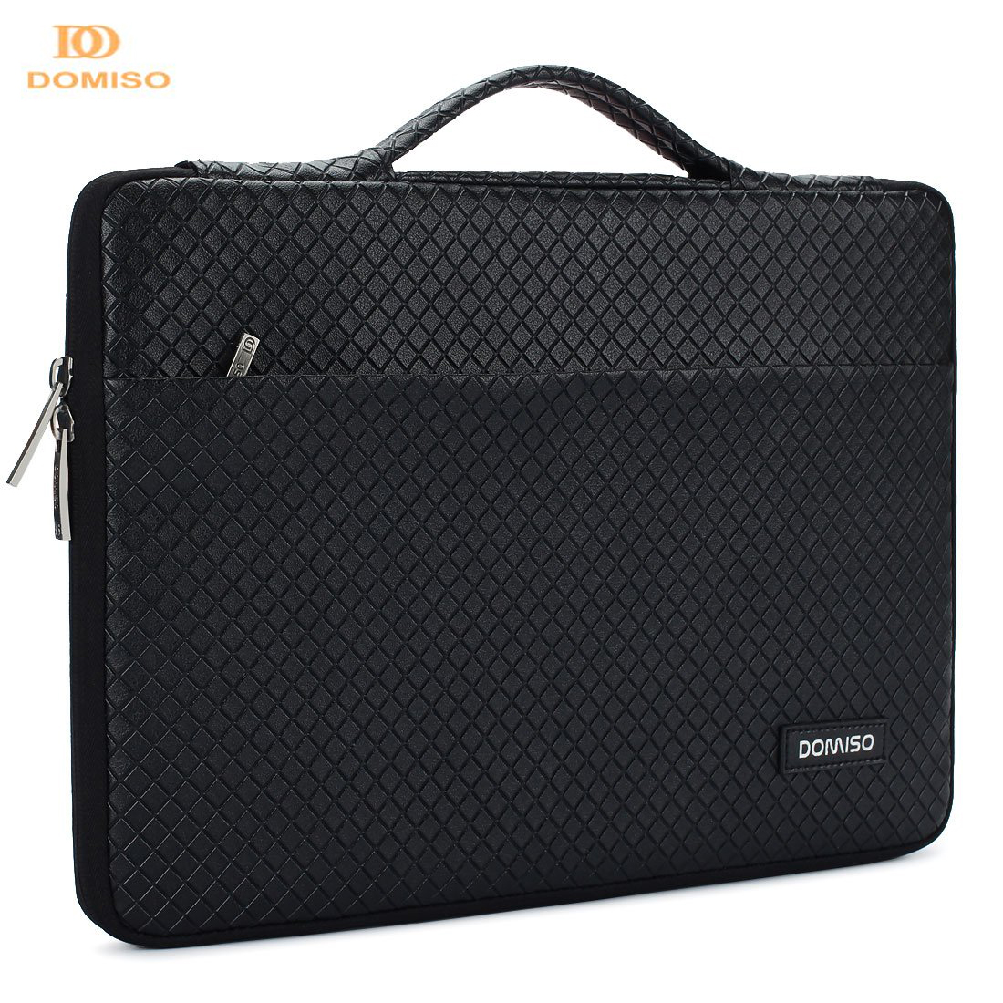 DOMISO 15 6 Inch Waterproof Laptop Sleeve with Handle Portable Carrying Case Silver Gray Bright Black